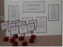 Anna and Chris had purchased their printed invitations from a shop. They realised they could not purchase a table plan to match. I took the copies of the invitations they sent me and made a table plan to coordinate with the colours of their invitation and incoporated the rose design. Table names were created and placed on red heart clip holders.