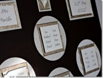 The groom was going to wear a chocolate brown suit, and the bride a light gold dress, a whole stationery range was created to fit the theme, including a table plan, menus, order of service, along with cream table linen, brown organza bows, napkins and favour boxes.